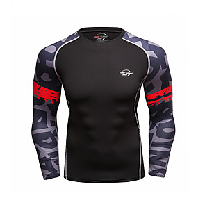 cheap Running & Jogging-CODYLUNDIN Men's Long Sleeve Compression Shirt Running Shirt Running Base Layer Patchwork Top Athletic Winter Sun Protection Quick Dry Breathable Running Active Training Jogging Sportswear Blue Black