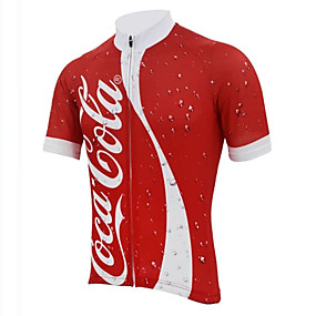cheap Cycling & Motorcycling-21Grams Men's Short Sleeve Cycling Jersey Winter Spandex Polyester Red and White Patchwork Bike Jersey Top Mountain Bike MTB Road Bike Cycling UV Resistant Quick Dry Breathable Sports Clothing Apparel