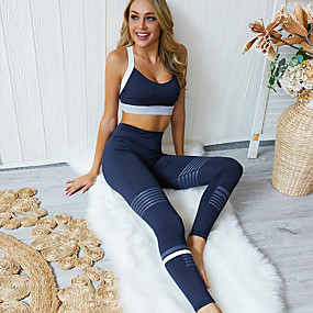 cheap Women's Activewear-Women's 2 Piece Activewear Set Workout Outfits Yoga Suit Athletic 2pcs Sleeveless High Waist Nylon Quick Dry Breathable Soft Fitness Gym Workout Running Jogging Sportswear Skinny Dark Blue Activewear