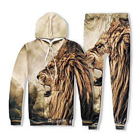 cheap Running & Jogging-YEEZZI® Men's 2 Piece Tracksuit Sweatsuit Jogging Suit Street Casual Long Sleeve Thermal Warm Quick Dry Breathable Fitness Running Jogging Sportswear Lion Hoodie Coffee Activewear Stretchy