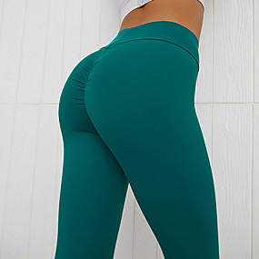 cheap Yoga & Fitness-Women's High Waist Yoga Pants Scrunch Butt Ruched Butt Lifting Cropped Leggings Tummy Control Butt Lift Black Yellow Red Fitness Gym Workout Running Sports Activewear High Elasticity Skinny