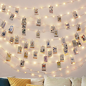 cheap Batteries Powered-3M Photo Clip LED String Lights Fairy Lights Outdoor Battery Operated Garland Christmas Decoration Party Wedding Xmas