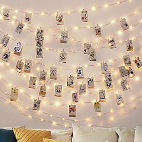 povoljno LED svjetla u traci-3M Savitljive LED trake Žice sa svjetlima 30 LED diode 1set Toplo bijelo Party Ukrasno Božićni vjenčani ukrasi Baterije su pogonjene