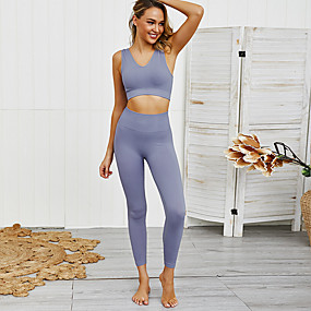 cheap Women's Activewear-Women's 2pcs Tracksuit Yoga Suit Seamless Solid Color Dark Grey Black Red Yoga Fitness Gym Workout High Waist Cropped Leggings Bra Top Sleeveless Sport Activewear Tummy Control Butt Lift Moisture