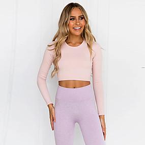 cheap Women's Activewear-Women's 2pcs Tracksuit Yoga Suit Seamless Solid Color Purple Blue Pink Yoga Fitness Gym Workout High Waist Cropped Leggings Crop Top Long Sleeve Sport Activewear Tummy Control Butt Lift Moisture