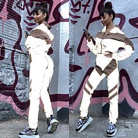 cheap Running & Jogging-Women's 2 Piece Full Zip Tracksuit Sweatsuit Jogging Suit Street Casual Long Sleeve Elastane Reflective Windproof Breathable Fitness Running Jogging Sportswear Jacket Track pants Black Pink Activewear