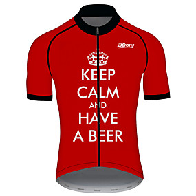cheap Cycling & Motorcycling-21Grams Men's Short Sleeve Cycling Jersey Summer Spandex Polyester Black / Red Solid Color Crown Bike Jersey Top Mountain Bike MTB Road Bike Cycling UV Resistant Quick Dry Breathable Sports Clothing