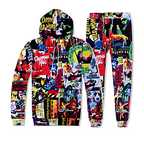 cheap Running & Jogging-YEEZZI® Men's 2 Piece Tracksuit Sweatsuit Jogging Suit Street Casual Long Sleeve Breathable Soft Fitness Running Jogging Sportswear Graffiti Hoodie Joggers Purple Red Green Activewear Stretchy