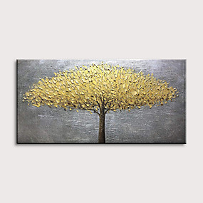 cheap Floral/Botanical Paintings-Oil Painting Hand Painted Landscape Floral / Botanical Modern Rolled Canvas Rolled Without Frame