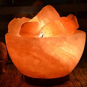 cheap Personal Protection-Salt Lamp Bowl LED Himalayan air purifying Salt Lamp Night Light Creative USB 1pc