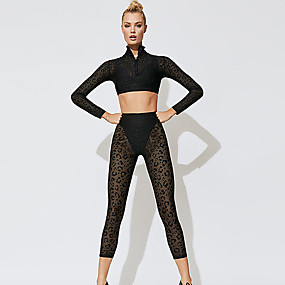 cheap Women's Activewear-Women's 2 Piece Tracksuit Yoga Suit See Through Fashion White Black Mesh Fitness Gym Workout Running High Waist Cropped Leggings Crop Top Long Sleeve Sport Activewear Tummy Control Butt Lift Quick Dry