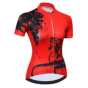 cheap Cycling & Motorcycling-21Grams Women's Short Sleeve Cycling Jersey Summer Spandex Polyester Light Blue Black / Red Yellow Novelty Gear Bike Jersey Top Mountain Bike MTB Road Bike Cycling UV Resistant Quick Dry Breathable