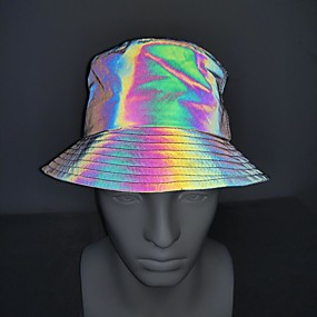 cheap Exercise, Fitness & Yoga-Running Cap Bucket Hat Men's Women's Hat Fashion Reflective Breathable Sun Protection for Running Fitness Jogging Autumn / Fall Spring Winter Rainbow