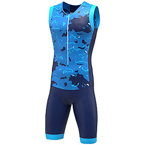 cheap Cycling & Motorcycling-21Grams Women's Sleeveless Triathlon Tri Suit Spandex Camouflage Blue Grey Bike UV Resistant Quick Dry Breathable Sports Graphic Mountain Bike MTB Road Bike Cycling Clothing Apparel / Stretchy