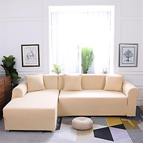 cheap Slipcovers-Pure Color Dustproof Stretch Slipcovers Stretch Sofa Cover Super Soft Fabric Couch Cover (You will Get 1 Throw Pillow Case as free Gift)