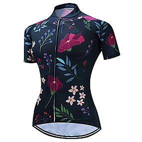 cheap Cycling & Motorcycling-21Grams Women's Short Sleeve Cycling Jersey Spandex Polyester Dark Blue Solid Color Leaf Geometic Bike Jersey Top Mountain Bike MTB Road Bike Cycling UV Resistant Quick Dry Breathable Sports Clothing