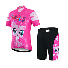 cheap Cycling & Motorcycling-21Grams Girls' Short Sleeve Cycling Jersey with Shorts - Kid's Summer Spandex Polyester Pink / Black Fox Animal Bike Clothing Suit UV Resistant Quick Dry Breathable Back Pocket Sweat wicking Sports