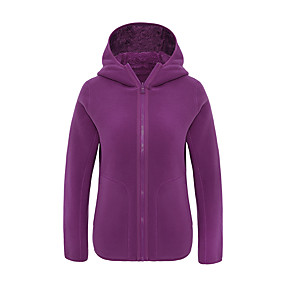 cheap Camping, Hiking & Backpacking-Women's Hiking Fleece Jacket Autumn / Fall Winter Spring Outdoor Solid Color Windproof Fleece Lining Warm Comfortable Jacket Winter Fleece Jacket Top Fleece Single Slider Climbing Camping / Hiking