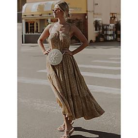 Χαμηλού Κόστους Women's Dresses-Γυναικεία Φόρεμα ριχτό από τη μέση και κάτω Αμάνικο Λεοπάρ Ανοιξη καλοκαίρι Τιράντες 2020 Χακί M L XL XXL / Μακρύ