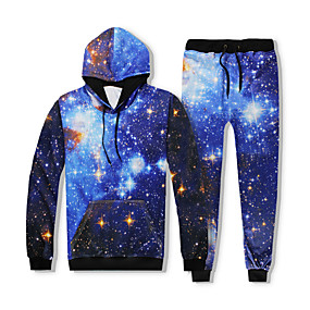cheap Running & Jogging-YEEZZI® Men's 2 Piece Tracksuit Sweatsuit Jogging Suit Street Casual Long Sleeve Thermal Warm Quick Dry Breathable Fitness Running Jogging Sportswear Galaxy Hoodie Dark Blue Activewear Stretchy
