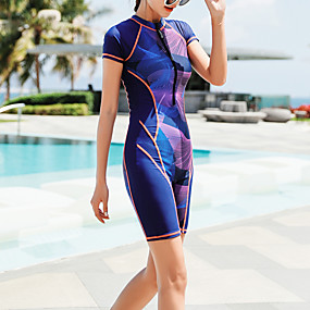 cheap Surfing, Swimming & Diving-Women's Rash Guard Dive Skin Suit Elastane Swimwear Bodysuit UV Sun Protection Quick Dry Stretchy Short Sleeve Front Zip - Swimming Diving Surfing Snorkeling Painting Summer / High Waist
