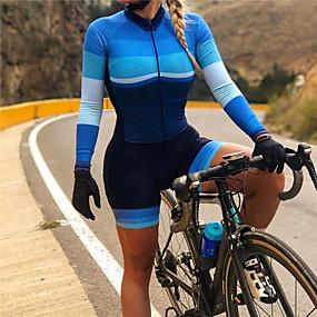 cheap Cycling & Motorcycling-21Grams Women's Long Sleeve Triathlon Tri Suit Spandex Blue Bike Thermal Warm UV Resistant Quick Dry Breathable Sports Horizontal Stripes Mountain Bike MTB Road Bike Cycling Clothing Apparel