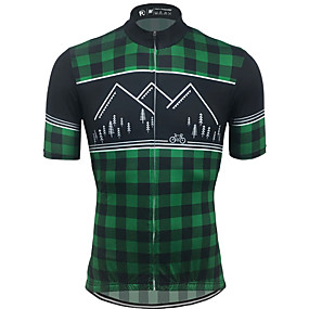cheap Cycling & Motorcycling-21Grams Men's Short Sleeve Cycling Jersey Summer Spandex Polyester Green / Black Plaid Checkered Solid Color Bike Jersey Top Mountain Bike MTB Road Bike Cycling UV Resistant Quick Dry Breathable