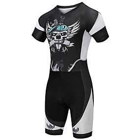 cheap Cycling & Motorcycling-21Grams Men's Short Sleeve Triathlon Tri Suit Summer Spandex Polyester Black+White Sugar Skull Skull Bike Clothing Suit UV Resistant Quick Dry Breathable Sweat wicking Sports Sugar Skull Mountain