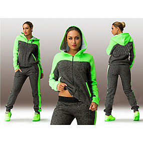 cheap Women-Women's Tracksuit Sweatsuit Street Casual Winter Long Sleeve Quick Dry Breathable Fitness Gym Workout Running Jogging Sportswear Plus Size Pink Green Activewear Micro-elastic / Athleisure