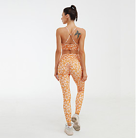 cheap Women's Activewear-Women's 2 Piece Tracksuit Yoga Suit Ruched Butt Lifting Leopard Print Purple Orange Gray Fitness Gym Workout Running High Waist Tights Bra Top Sport Activewear Tummy Control Butt Lift Quick Dry High