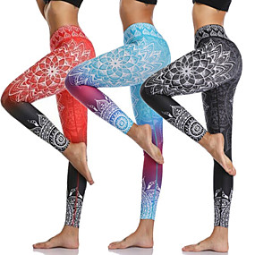 cheap Exercise, Fitness & Yoga-Women's High Waist Yoga Pants Cropped Leggings Butt Lift Breathable Moisture Wicking Black Orange Blue Gym Workout Running Fitness Sports Activewear High Elasticity Skinny