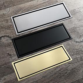 cheap Drains-Insert Tile 30x11cm Stainless Steel Rectangle Floor Drain Bathroom Anti Odor Drain Brushed / Black / Brushed Gold