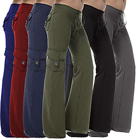 cheap Exercise, Fitness & Yoga-Women's Yoga Pants Wide Leg Pocket Pants / Trousers Breathable Quick Dry Black Red Navy Blue Cotton Gym Workout Dance Fitness Sports Activewear Loose