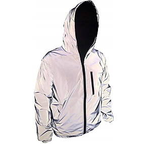 cheap Running & Jogging-Men's Long Sleeve Running Track Jacket Reflective Jacket Hoodie Jacket Full Zip Outerwear Jacket Hoodie Street Athleisure High Visibility Reflective Windproof Fitness Running Jogging Sportswear Solid