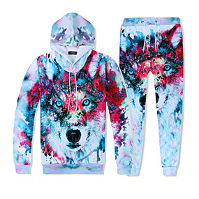 cheap Running & Jogging-YEEZZI® Men's 2 Piece Tracksuit Sweatsuit Jogging Suit Street Casual Long Sleeve Thermal Warm Quick Dry Breathable Fitness Running Jogging Sportswear Hoodie Blue and White White+Red White Dark Blue