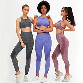 cheap Exercise, Fitness & Yoga-Women's 2 Piece Tracksuit Yoga Suit Seamless Patchwork Blue Pink Gray Mesh Running Fitness Gym Workout Leggings Bra Top Sleeveless Sport Activewear Quick Dry Butt Lift Tummy Control High Elasticity