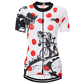 cheap Cycling & Motorcycling-21Grams Dot Gear Graffiti Women's Short Sleeve Cycling Jersey - Red / White Bike Jersey Top Quick Dry Moisture Wicking Breathable Sports Summer Terylene Mountain Bike MTB Clothing Apparel / Race Fit