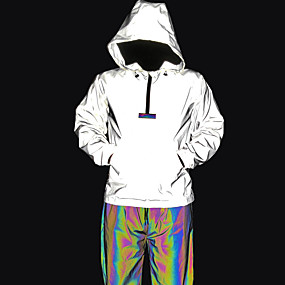 cheap Running & Jogging-Men's Long Sleeve Reflective Jacket Hoodie Jacket Windbreaker Quarter Zip Outerwear Hoodie Athleisure Wear Winter High Visibility Reflective Breathable Running Walking Jogging Sportswear Solid Colored