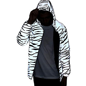 cheap Running & Jogging-Men's Long Sleeve Running Track Jacket Reflective Jacket Hoodie Jacket Full Zip Outerwear Jacket Hoodie High Visibility Reflective Windproof Fitness Running Jogging Sportswear Floral Black with White