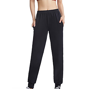cheap Yoga & Fitness-Women's High Waist Yoga Pants Pants / Trousers Pocket Cotton Fitness Running Thermal Warm Breathable Soft Sport Solid Color Black / Stretchy
