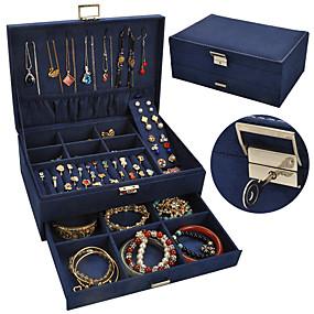cheap Accessories-Jewelry Box - Leather Light Blue, Black, Blue 27 cm 18.5 cm 10.5 cm / Women's