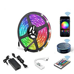 cheap WiFi Control-5m WIFI Set Light Strip Flexible LED Strip Lights RGB Tiktok Lights 300 LEDs SMD5050 10mm 1 24Keys Remote Controller 1 X 12V 5A Power Supply 1 set Color-changing IP20 APP Control
