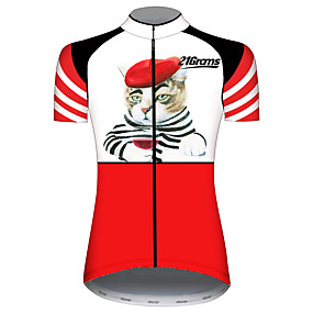 cheap Cycling & Motorcycling-21Grams Women's Short Sleeve Cycling Jersey Summer Spandex Polyester Red and White Cat Solid Color Animal Bike Jersey Top Mountain Bike MTB Road Bike Cycling UV Resistant Quick Dry Breathable Sports
