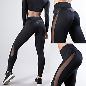 cheap Exercise, Fitness & Yoga-Women's High Waist Yoga Pants Patchwork Leggings Butt Lift Quick Dry Heart Black Navy Blue Burgundy Mesh Leather Gym Workout Running Fitness Sports Activewear High Elasticity Skinny