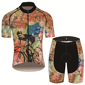 cheap Cycling & Motorcycling-21Grams Men's Short Sleeve Cycling Jersey with Shorts Summer Black / Orange Animal Bike Clothing Suit UV Resistant Quick Dry Back Pocket Sports Patterned Mountain Bike MTB Road Bike Cycling Clothing