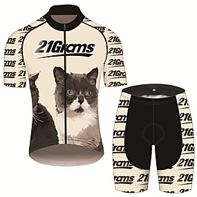 cheap Cycling & Motorcycling-21Grams Men's Short Sleeve Cycling Jersey with Shorts Summer Spandex Polyester Black / Yellow Cat Animal Bike Clothing Suit UV Resistant 3D Pad Quick Dry Breathable Back Pocket Sports Cat Mountain