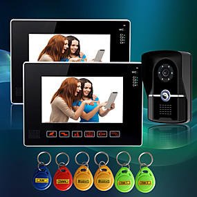 cheap Video Door Phone Systems-Wired 7 Inch Hands-free 800*480 Pixel One To Two Video Doorphone
