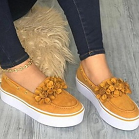 cheap Women's Slip-Ons & Loafers-Women's Loafers & Slip-Ons Platform Round Toe Suede Classic Spring Yellow / Pink / Blue