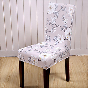 cheap Slipcovers-Beige Floral Print Very Soft Chair Cover Stretch Removable Washable Dining Room Chair Protector Slipcovers Home Decor Dining Room Seat Cover