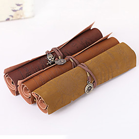 cheap Education & Crafts-Retro Pirate Treasure Map Roll Up PU Leather Pencil Case Pen Bags Make Up Holder Gift